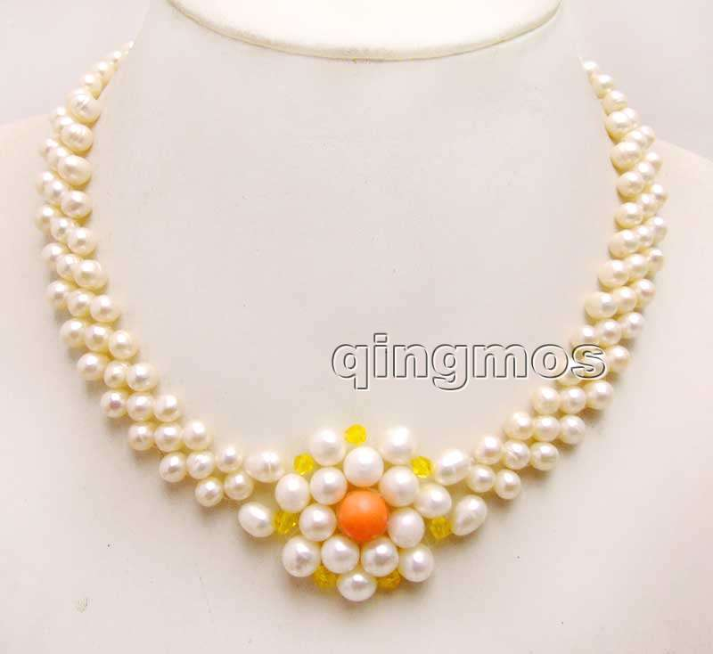 6-7mm White Round Natural FW pearl and 9-10mm Pink Coral handwork Weaving 17 3 strands Necklace-nec6187 Wholesale/retail free