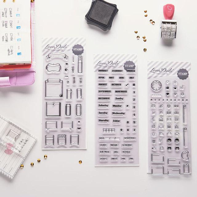 Dokibook livraison gratuite 2018 nouvelle maison BRICOLAGE transparent timbre joint album agenda planificateur journal DIY pièces de rechange Creative mignon