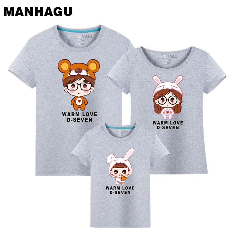MANHAGU Brand 1piece family t shirt mom and daughter father son matching clothes mere fille mommy and me outfits Cartoon clothes