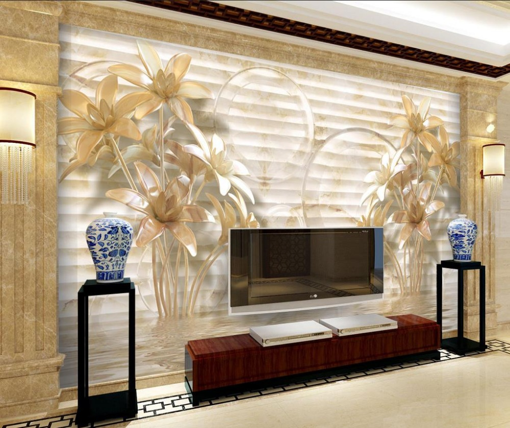 US $15 12 OFF Dekorasi Foto Custom 3d Wallpaper 4d Fashion Jade Ukiran Lily Dinding Mural Foto Wallpaper Wall Mural Photo Wallpaper Photo