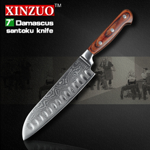 XINZUO high quality 7″ inch Japanese chef knife knife set Damascus kitchen knife santoku knifecolor wood handle free shipping