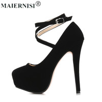 2017 Plus Size 46 Woman Rubber Bottom High Heels Round Toe With Strap Shoe Platforms Pump