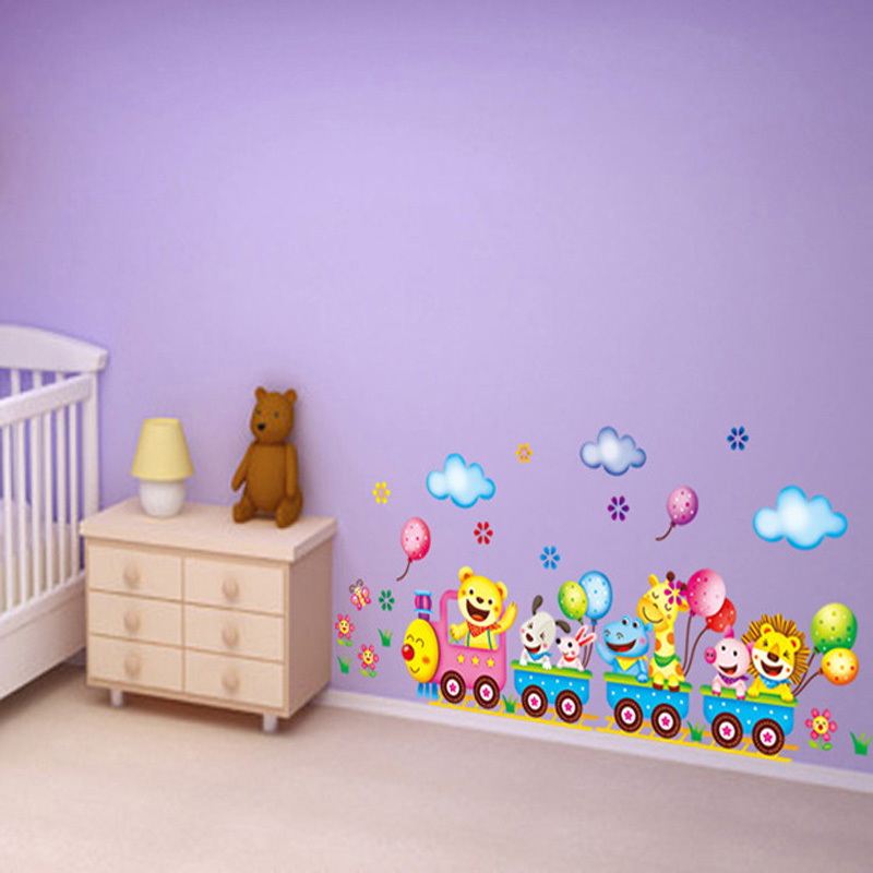 2019 New Cute Cartoon Animals Train Wall Sticker Children Room Decor Art Decal Wall Stickers