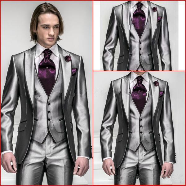 Groom tuxedos grey mens suit groomsmen mens wedding suits slim groom tuxedos grey mens suit groomsmen mens wedding suits slim fit notched lapel three pieces jacketpantsvesttie in suits from mens clothing junglespirit Image collections