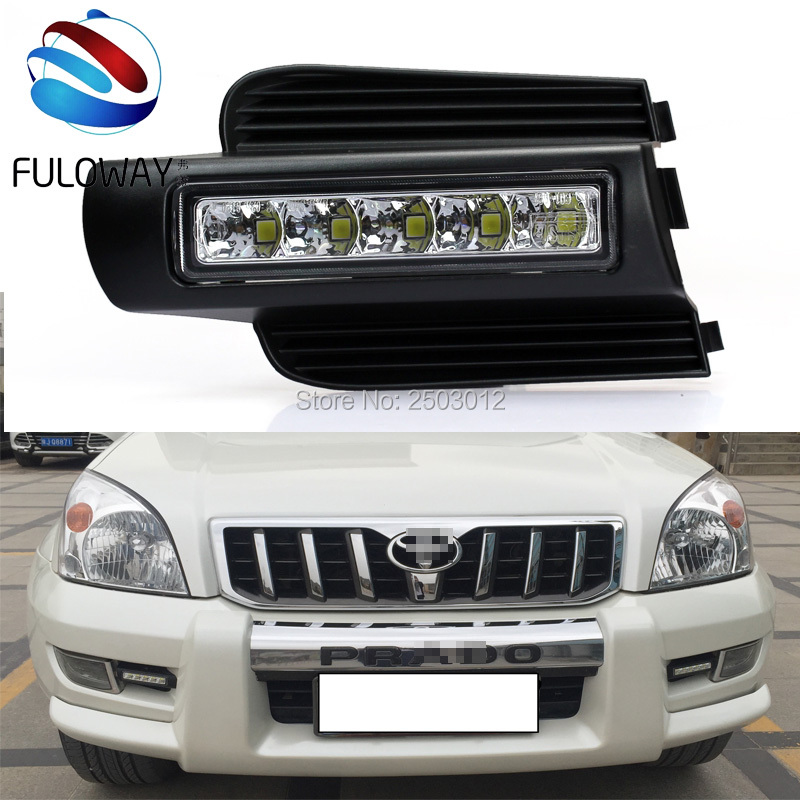 LED Daytime Running Light For Toyota Prado 120 LC120 GRJ120 2003 to 2009 Fog Lamp DRL Bumper Light Accessories Parts Car-Styling led drl for toyota land cruiser prado 120 lc120 fj120 2003 2009 daytime running lights with light off function