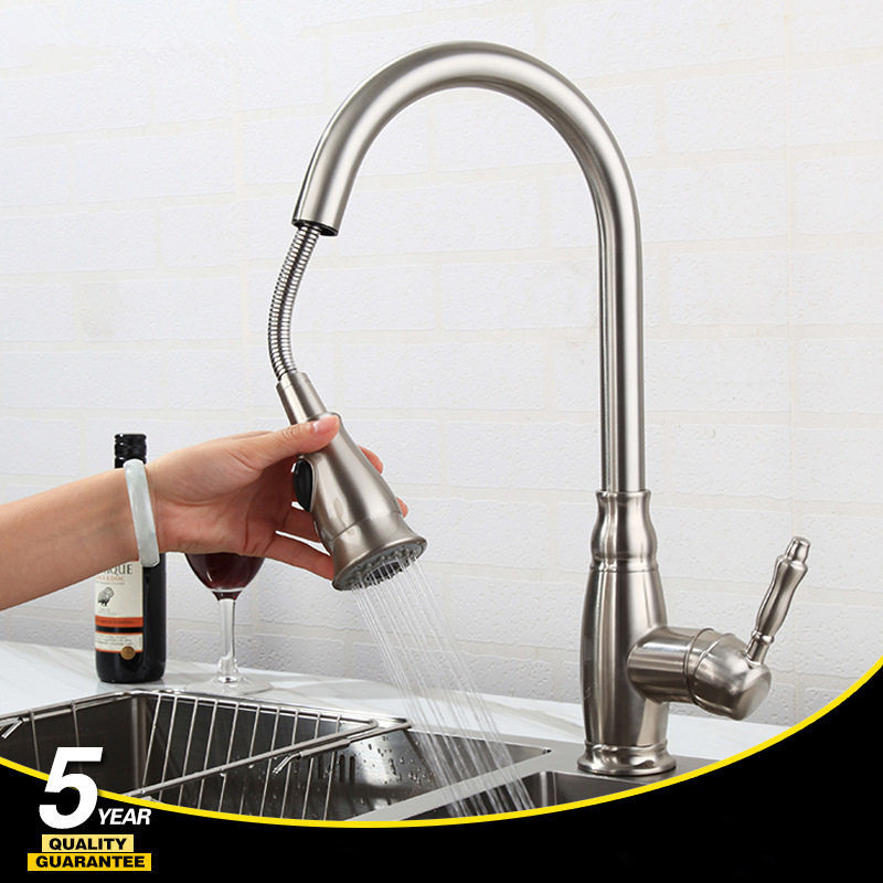 Kitchen Sink Faucets Total Brass Pull Out/Down Kitchen Sink Mixer Tap Deck Mounted Hot and Cold Kitchen Crane Nickel FaucetKitchen Sink Faucets Total Brass Pull Out/Down Kitchen Sink Mixer Tap Deck Mounted Hot and Cold Kitchen Crane Nickel Faucet