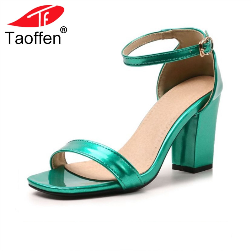 TAOFFEN 8 Colors Size 28-52 Women High Heels Sandals Square Heels Summer Shoes Women Party Office Fashion Concise Footwear taoffen women high heel sandals open toe pleated concise slippers solid color shoes women footwear summer party size 34 39