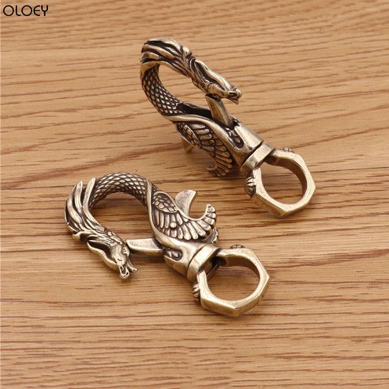 OLOEY 2019 Brass Dragon Decorative Pattern CARABINER Lobster Clasps Swivel Claw Hook Keyring Key Chain Keychain Bottle Opener