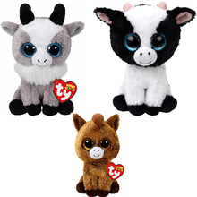 "3pcs Ty Beanie Boos 6"" Harriet the Horse Butter the Cow Gabby the Goat Plush Stuffed Animal Collectible Doll Toy"