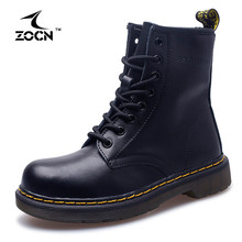 ZOCN Plus Size 35-44 Unisex Motorcycle Boots Genuine Leather Ankle Boots 2016 Autumn Winter Men Women Winter Boots Stivali Donna