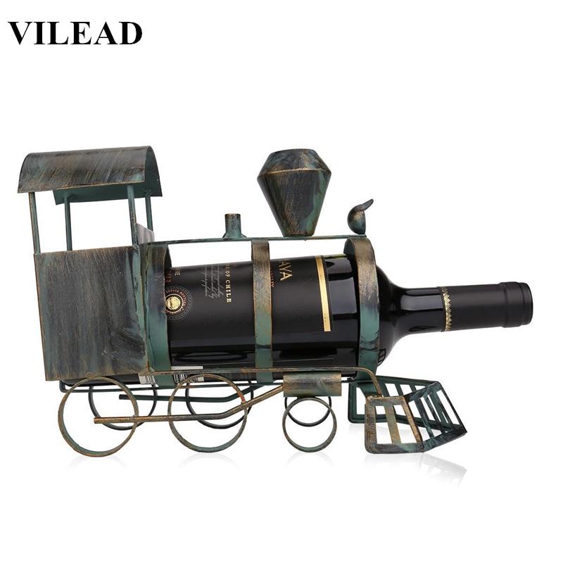 VILEAD 10'' Vintage Iron Train Wine Rack Figurines Bronze Train Miniatures Model for Office Decoracion Hogar Metal Wine Holder
