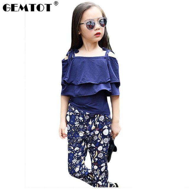 f95bc0f4b GEMTOT Meninas Definir a Roupa Dos Miúdos Moda Top Pant Duas Peças Crianças  Terno Verão Meninas
