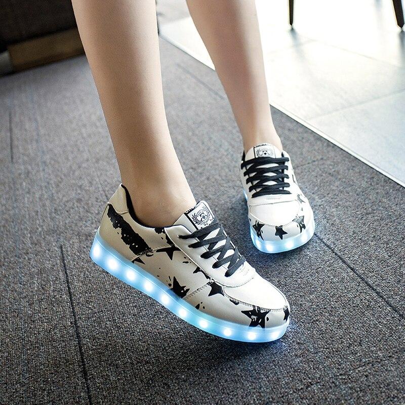 7 ipupas Black Star светящиеся Светодиодные Обувь Мода Освещенные Мужчины высококачественные повседневная Обувь Унисекс Обувь танца Led USB Обувь для открытый