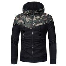 Men Hoodies 2019 Autumn Brand Male Long Sleeve Hoodie Drawstring Zipper Sweatshirts Men Camouflage Black Stitching Hooded Hoodie