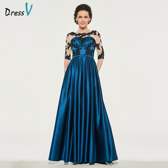 Dressv Long Mother Of The Bride Dress A Line Half Sleeves Appliques Beading Button Sashes Custom Wedding Party Mother Dress