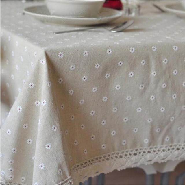 Pastoral Cotton & Linen Table Cloth Flower Cherry Printed Rectangular Table Cover Lace Edge Tablecloth for Wedding Hot Sale