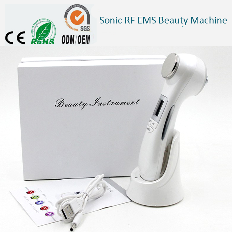 где купить Two Probe Galvanic Ion Ultrasonic RF EMS Photon Vibration Anti Aging Acne Wrinkle Remove Skin Lifting Tighten Beauty Massager дешево
