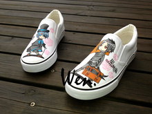 Wen Black Butler Design Custom Hand Painted Anime Slip On Shoes White Canvas Sneakers for Man Woman
