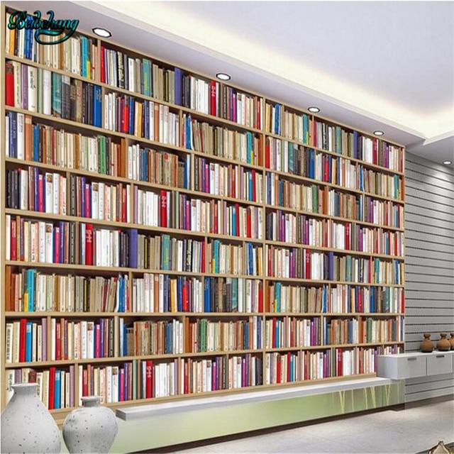 beibehang grote custom geweven stof behang mural boekenkast boekenkast woonkamer sofa tv achtergrond muur