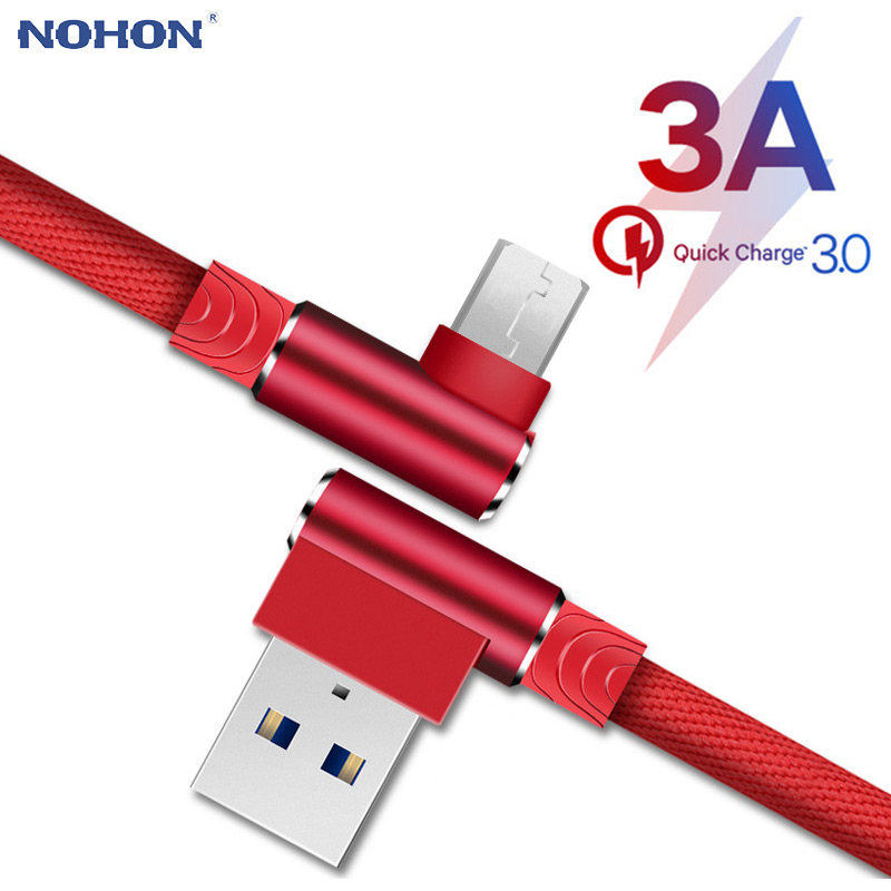 Origin <font><b>Micro</b></font> <font><b>USB</b></font> <font><b>Cable</b></font> 3A Fast Charger <font><b>USB</b></font> Cord 90 degree elbow Data <font><b>Cable</b></font> for Samsung/Sony/Xiaomi Android Phone 1 2 <font><b>3</b></font> <font><b>m</b></font> long image