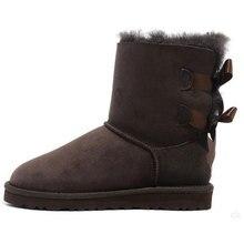 Brand Australia Women Fur Snow boots 100% Genuine Cow Leather Sweet Bowtie Short boots Warm Wool Winter Boots Botas Planas