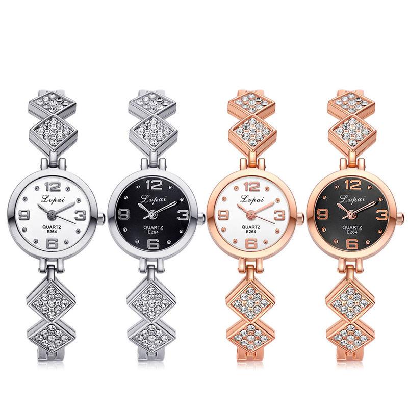 Women's Lady Diamond Stainless Steel Dial Bracelet Quartz Rhinestone Wrist Watch dinioh lady s stainless steel round dial