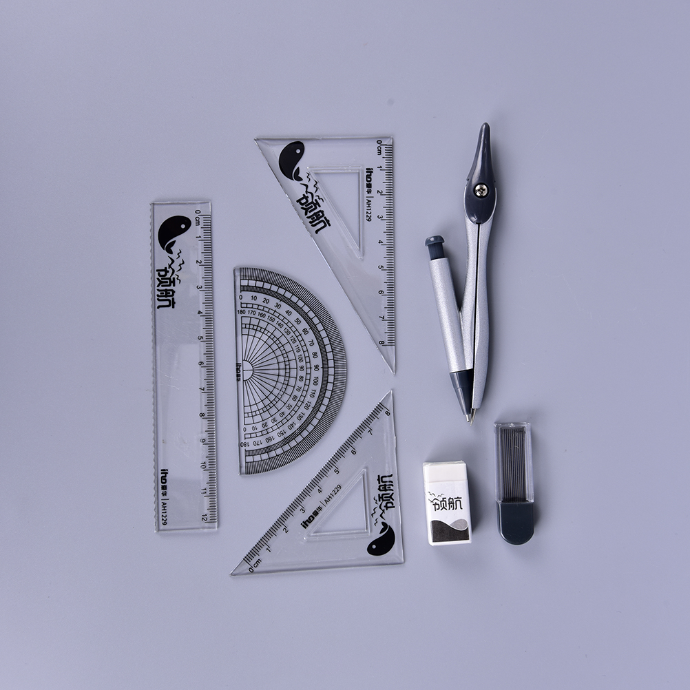 7 Pieces Of Compasses Ruler Set Student Ruler Math Set