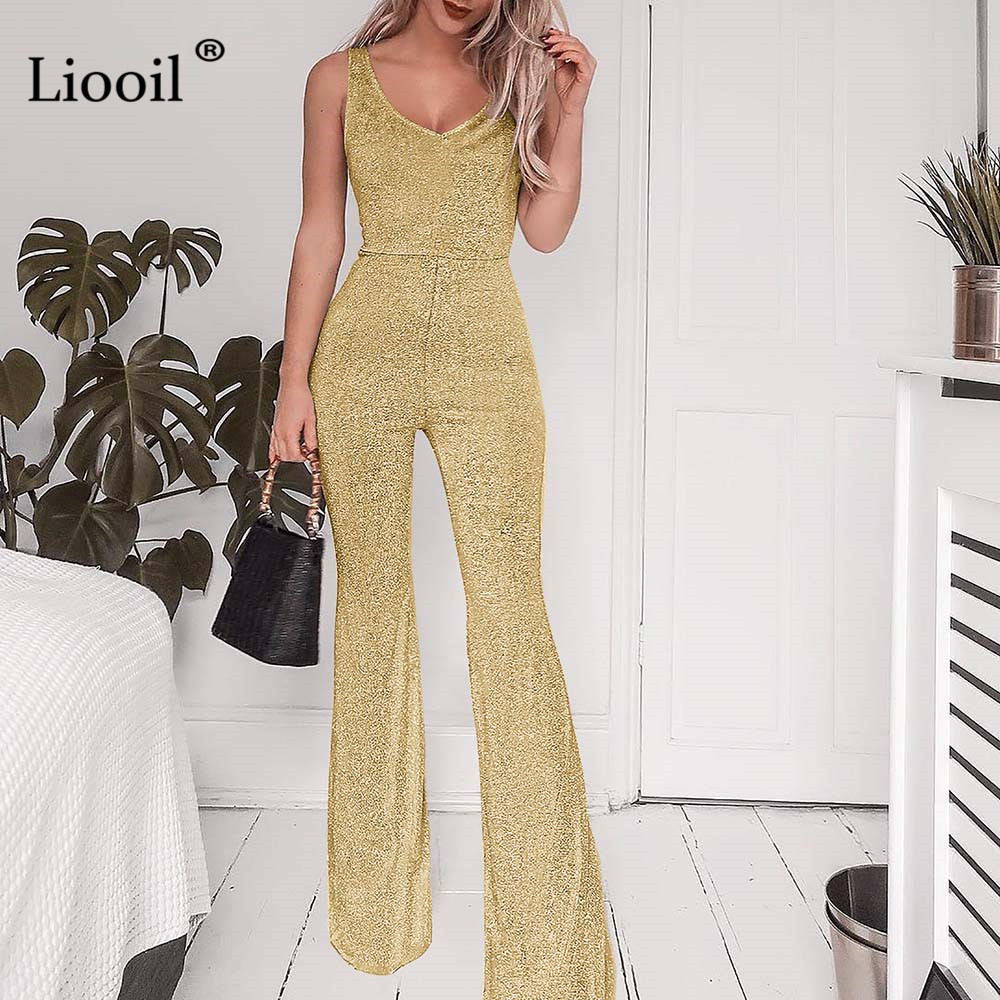 Liooil Plus Size Gold Silver Sexy Bodycon Jumpsuits For Women 2019 Summer V Neck Black Party Rompers Womens Jumpsuit Flare Pants
