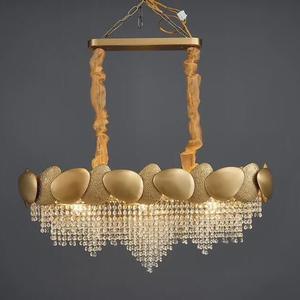Image 2 - Ouro irregular lustre de cristal retangular led restaurante lâmpada luxo sala estar do hotel engenharia lâmpada decorativa