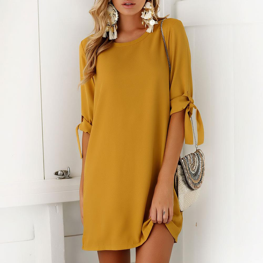 6 Colors Women Solid Color Fashion Half Sleeve Mini Dress Bow Tie Sleeve O-neck Straight Casual Loose Dress Party Dress Vestidos