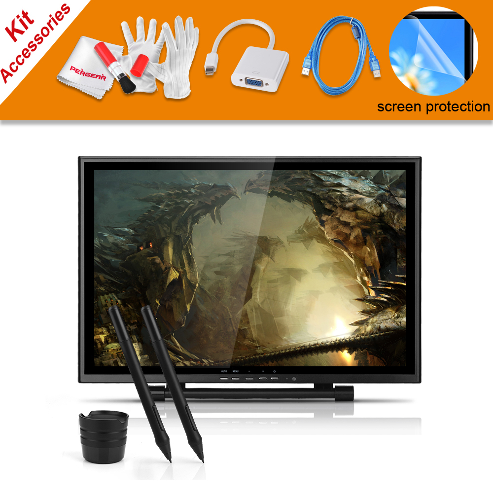 2 Pens UGEE UG-1910B 19 Inches LCD Monitor Graphic Drawing Tablet+VGA Adapter For MacBook+Screen Protector+USB Charging Cable