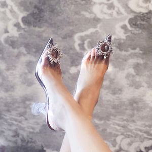 Image 3 - Peep Toe Women Pumps Summer Transparent Pvc Party Crystal Shoes High Heels Clear Elegant Ladies Sandals tacones mujer Size 34 40