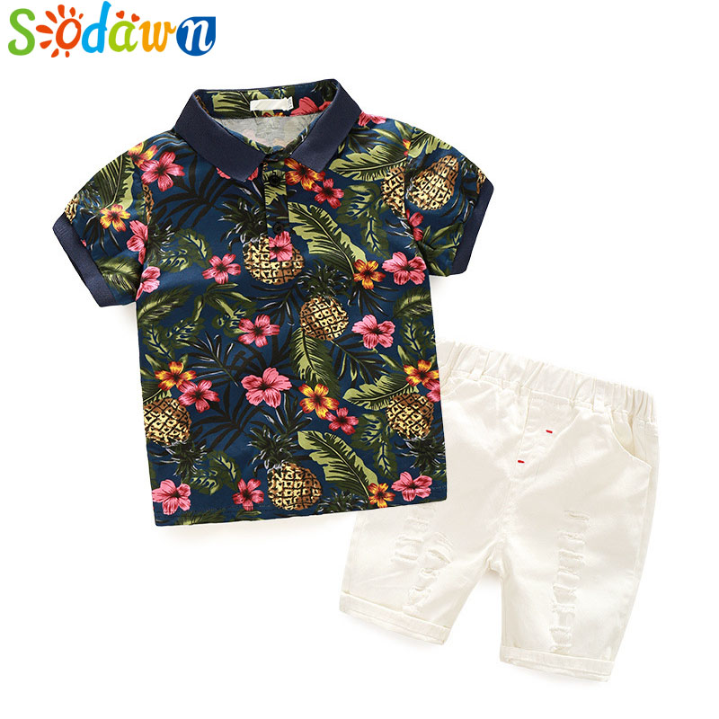 Sodawn 2017 Children Clothes New Summer Style Boy Clothing Sets Pure Cotton Floral Short-Sleeved shirt Shorts Shorts Suits