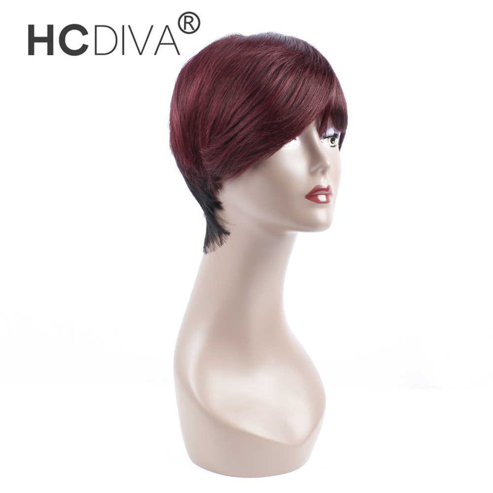HCDIVA Brazilian Human Hair Wigs For Women Short Wigs 1B/99J or Natural Color Non Remy Hair With Bangs Black Lace Front Wigs