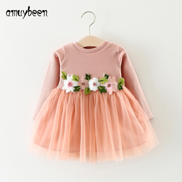 916dd284e Amuybeen Girl Clothing Girls Autumn Dress Long Sleeve Cute Dresses ...