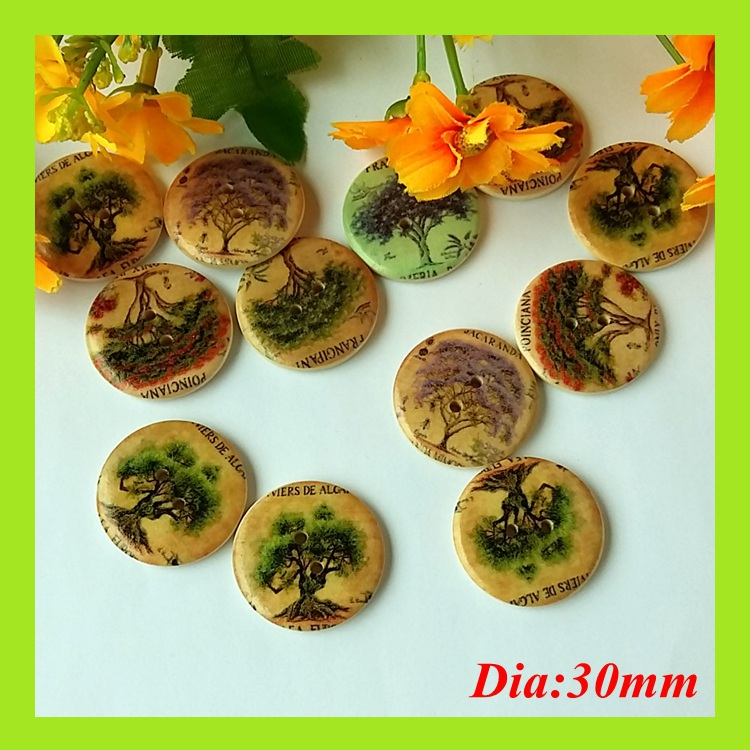 20pcs Natural Wood Button Sewing Buttons 30mm Printed clothing children/decoration/Craft/Scrapbooking supplies Accessorie ...