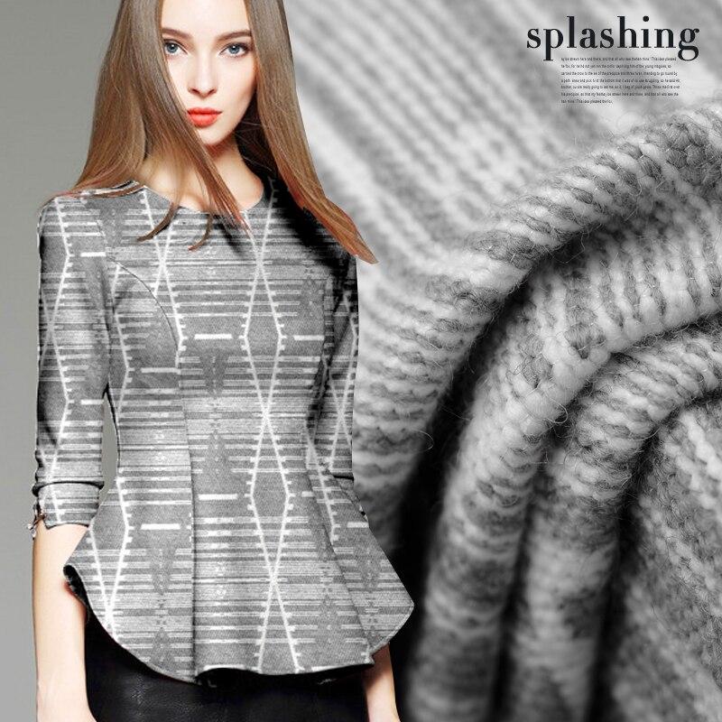 Hoge kwaliteit jacquard wollen stof meter grijs jacquard wollen stof jurk rok wol jacquard stof groothandel wol doek