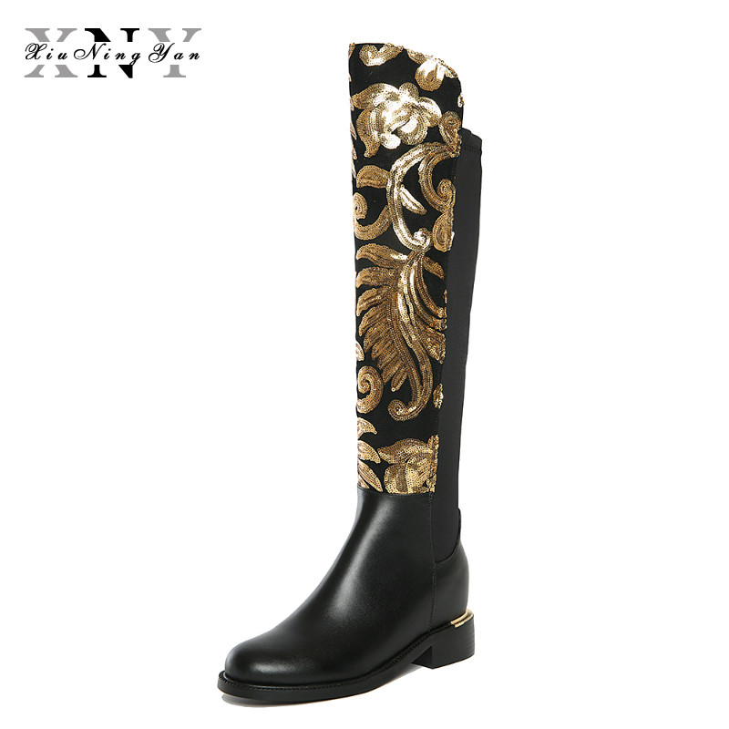 Women Knee-High Boot New Winter Shoes Large Size Thick Heel Brand Glitter s Causal Warm Low Heel Real Leather Sexy Fashion Boots alfani new black women s size small s mesh back high low ribbed blouse $59 259