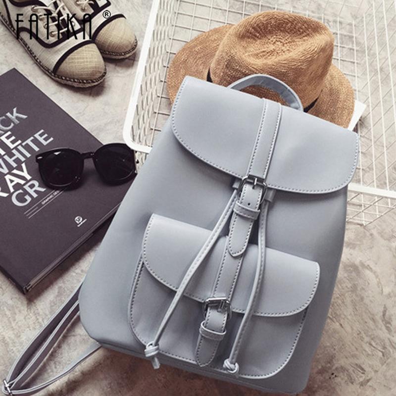 Fatika Hot Solid PU Backpack Women Multi-function Drawstring Shoulder Bag Stylish Bag Ladies Streetwear Casual Bags