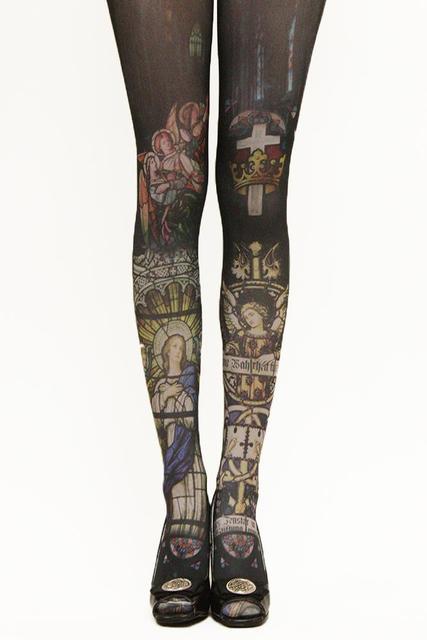 Princesa gótica pantimedias lolita Vintage negro de la cruz virgen de impresión pantyhose del terciopelo leotardos grimoire pray en iglesia LKW4-4