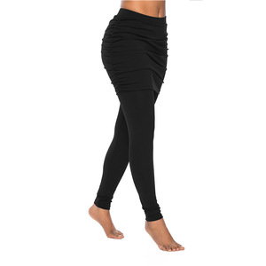 Image 2 - New Running Pants Fashion Women Wrap Folding Hip Side Pleated Skirt Fake Two Pieces Slim Sexy Skirted Leggings High Waist Pants