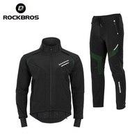 ROCKBROS Winter Fleece Cycling Sets Men Women Long Bike Clothing Mtb Bicycle Clothes Winter Cycling Suit Clothing Bike Suit