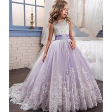 Princess Lilac Ball Gown Lace Flower Girls Dresses For Wedding Party Cheap 2017 Bow Knot Sweep Train Puffy Holy Communion Dress