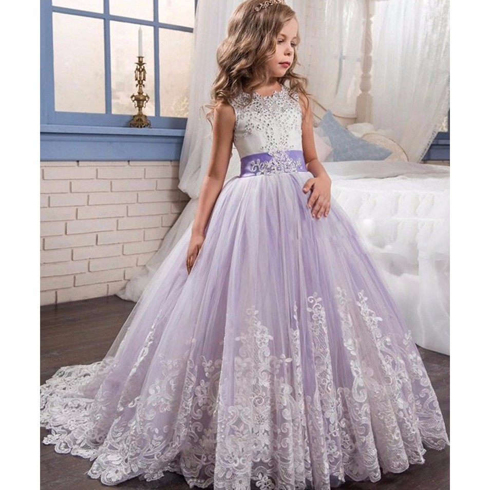 Cheap Wedding Dresses 2017 Lace Wedding Gowns Princess: Princess Lilac Ball Gown Lace Flower Girls Dresses For