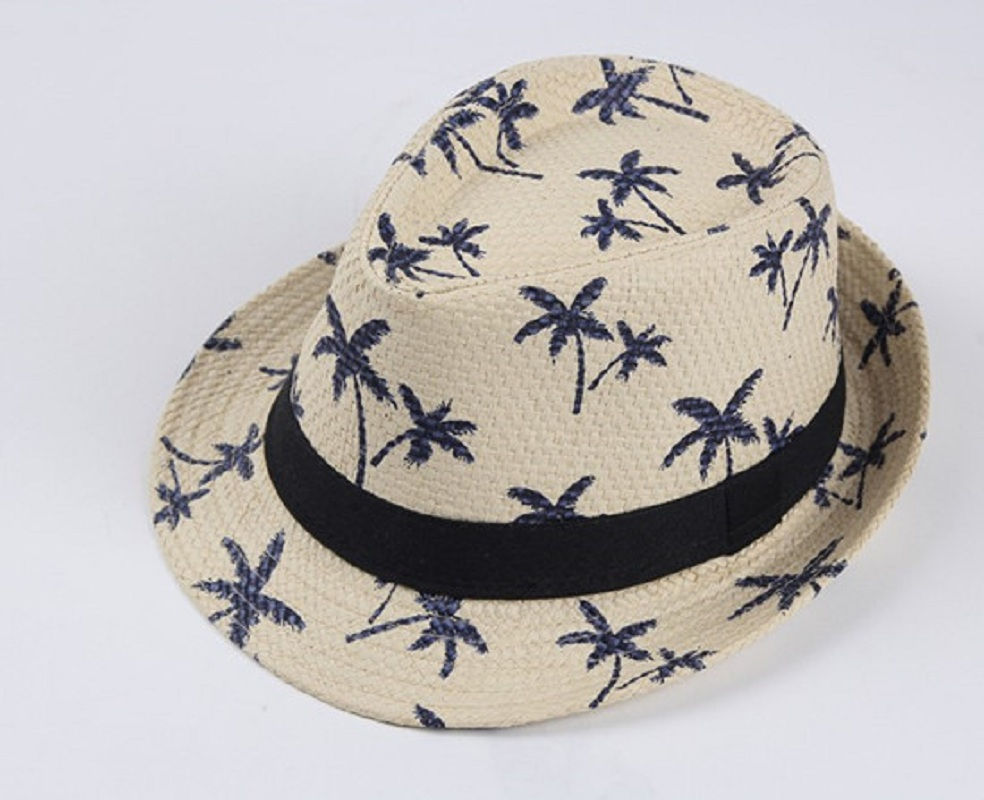 c267677da92 2017 Summer New Parent-Child Print Straw Jazz Hat With Band Beach Printing  Panama Hats Trilby Cap Fedora For Man Women And Kids