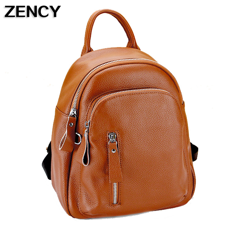 ZENCY Famous Brand Small Genuine Leather Women Backpack Cowhide Women Real Leather Backpacks Bags Girls zency genuine leather backpacks female girls women backpack top layer cowhide school bag gray black pink purple black color
