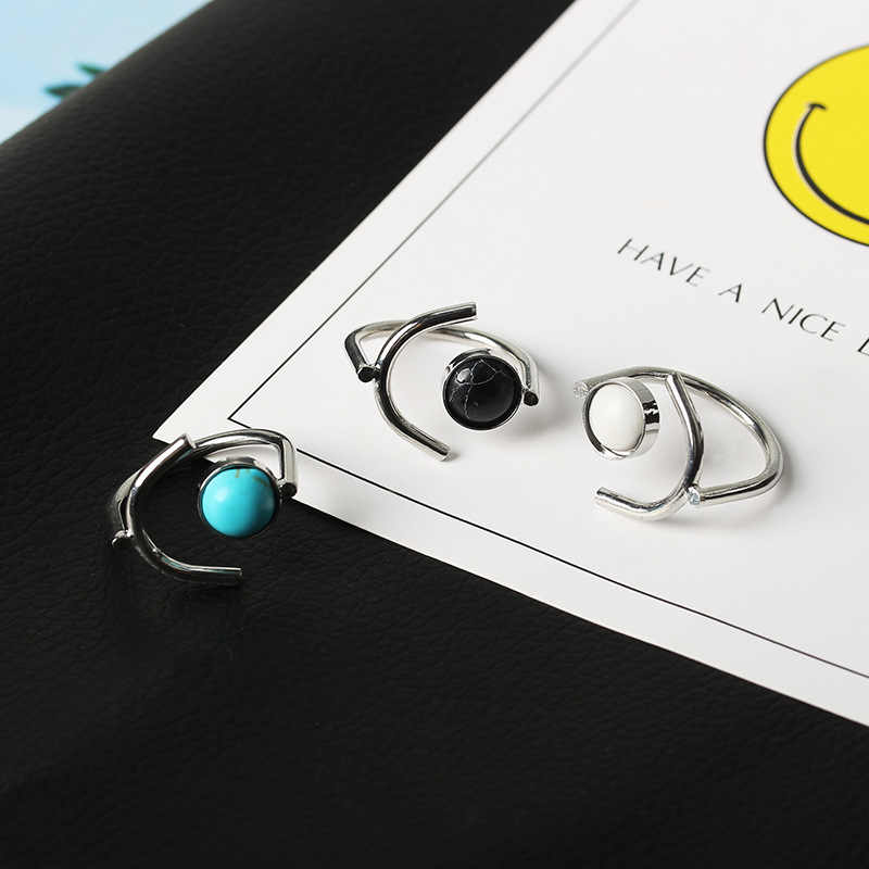 ยอดนิยมแหวนแฟชั่นผู้หญิงแหวนหินอินเทรนด์รอบหินสีดำแหวน Retro ยอดนิยมหินแหวนผู้หญิงเครื่องประดับขายส่ง
