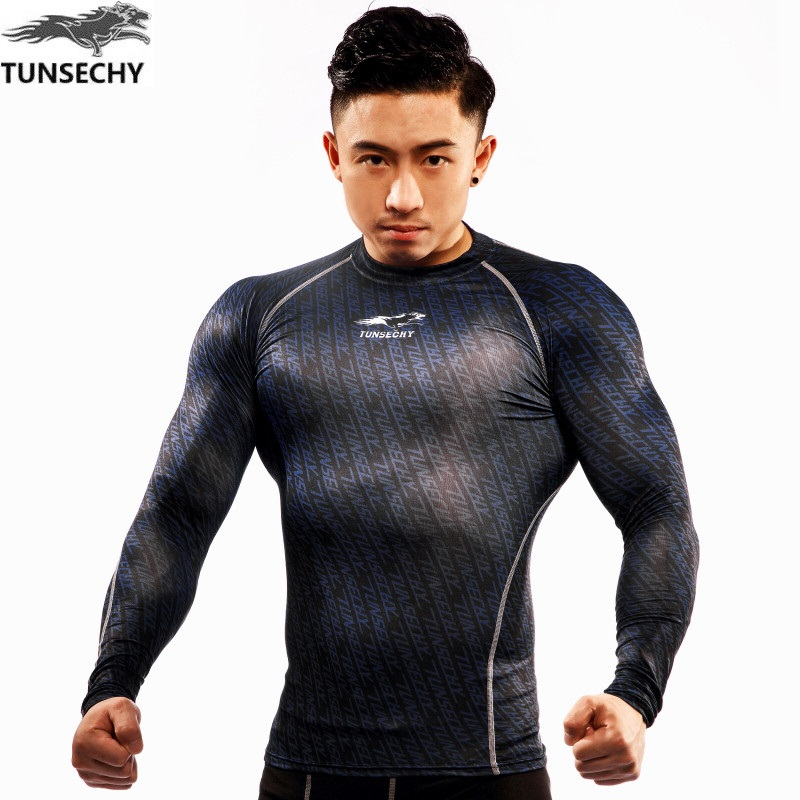 TUNSECHY 2017 New Fashion Compression 3D Digital printing T-shirt Men's round neck long sleeve T-shirt Free transportation