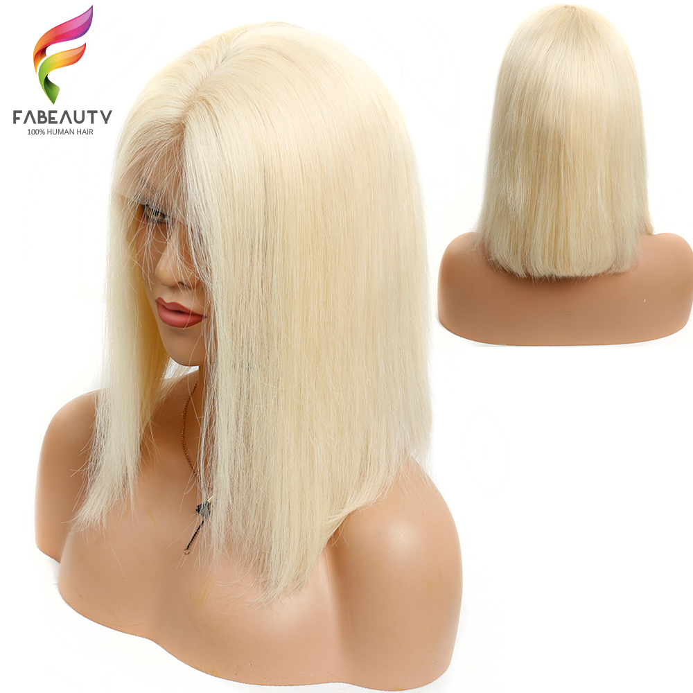 150% Density Lace Front Human Hair Wigs 613 Blonde Short Bob Straight Lace Wigs Peruvian Remy Human Hair Pre plucked Hairline image