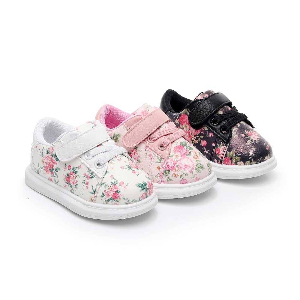 2018 Autumn Cute Baby Girls Shoes Soft Black Flower Baby Boys Sneakers Toddler Kids Sport Shoes Hot Sell